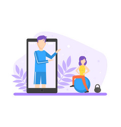 Young woman doing fitness together with online vector