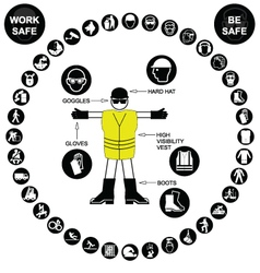 Black circular Health and Safety Icon collection vector image vector image