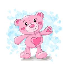 cute teddy with hearts cartoon vector image