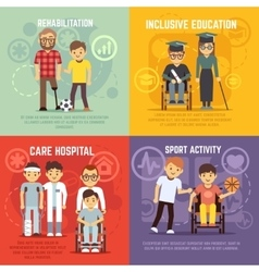 Disabled person care flat concepts set vector image vector image