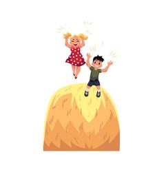 flat boy girl playing at big stack of hay vector image vector image