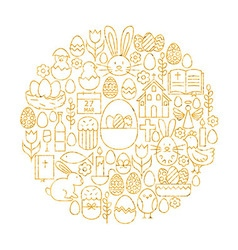 Gold happy easter holiday line icons set circle vector