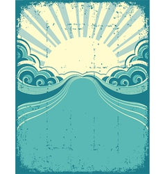 Grunge nature poster background with sun vector image vector image
