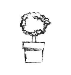 Plant pot tree natural decoration sketch vector
