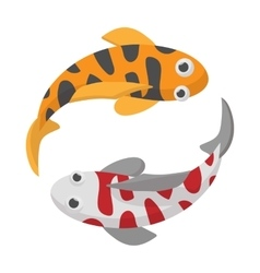 Two koi fishes icon cartoon style vector image