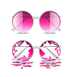 broken pink glasses isolated on white vector image vector image