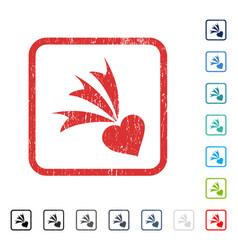 Falling heart icon rubber watermark vector