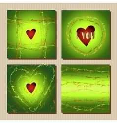 Set of cards with green valentines day design vector image