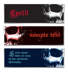 skull artistic splatter banners black red blue vector image