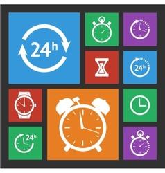 White clock icons set vector image