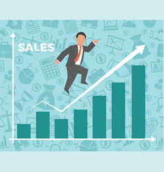 business man jump over growth graph vector image
