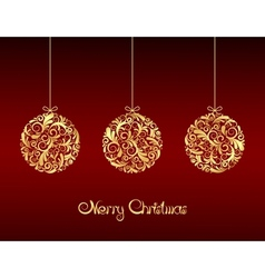 Gold Christmas balls on red background vector image