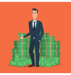Happy young businessman standing near a huge pile vector image vector image