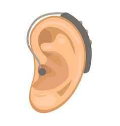 hearing aid icon flat style ear on a white vector image