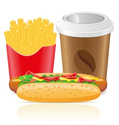 hotdog fries potato and paper cup with coffee vector image vector image