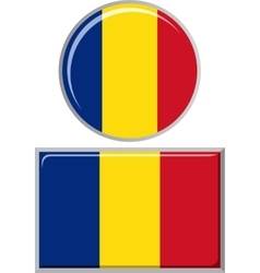 Romanian round and square icon flag vector