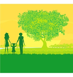 Happy family walks on nature sunset vector image