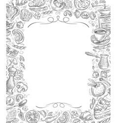 Menu sketches drawn food and drinks on vector image vector image