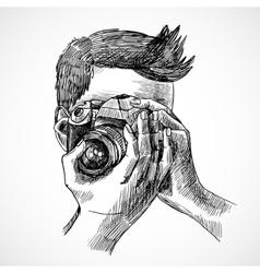 Photographer sketch portrait vector image vector image