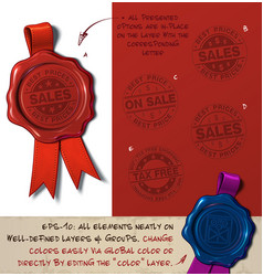 Wax seal - sales and tax free vector