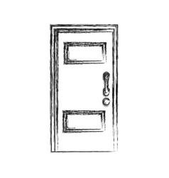wooden door entrance closed sketch vector image vector image
