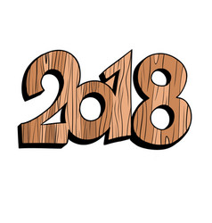 2018 new year wooden figures vector image