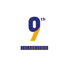 9 th anniversary celebration orange blue template vector