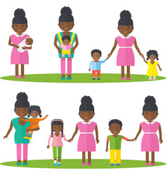 African american mother with kids vector