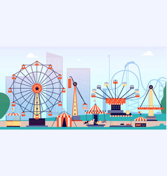 Amusement park fun fair circus entertainment or vector