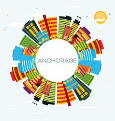 anchorage skyline with color buildings blue sky vector image