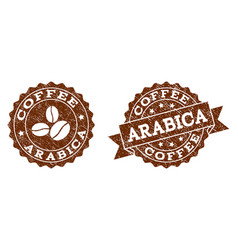 Arabica stamp seals with grunge texture in coffee vector