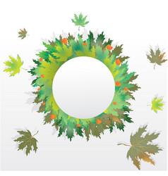 Autumn leaves round label vector