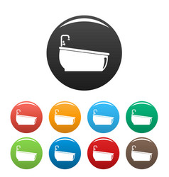 bathtube water tap icons set color vector image