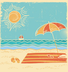 Beach scene sea landscape vintage on vector