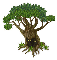 Big tree with creatures looking out of the hollow vector