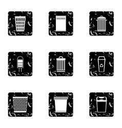Bin icons set grunge style vector