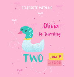 birthday baby card with duck and number two vector image