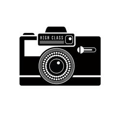Black camera icon vector