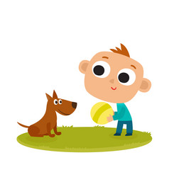 boy playing with dog cartoon vector image