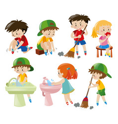 Boys and girls doing different activities vector
