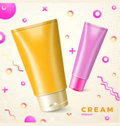 bright cream package mockup abstract style vector image