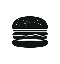Burger simple black icon on white background vector