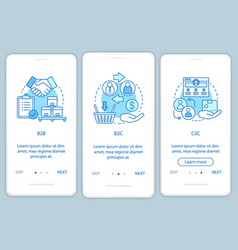 Business transactions onboarding mobile app page vector