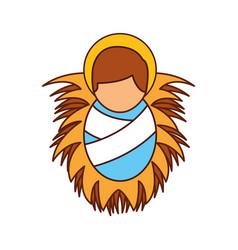 Cartoon cute baby jesus christ in the crib vector