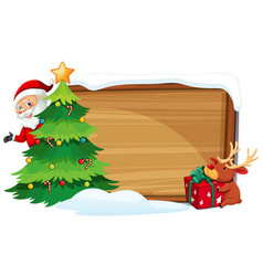 cartoon xmas wooden banner vector image