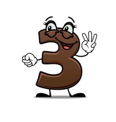 Cheerful cartoon number three vector image