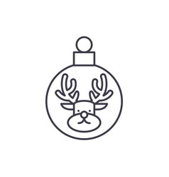 christmas ball with a deer line icon concept vector image