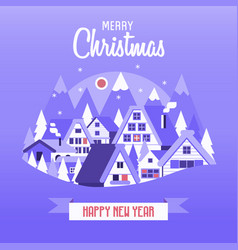 Christmas card with snow village vector