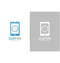 clock and phone logo combination time vector image