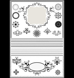 collection luxury borders and circular ornaments vector image